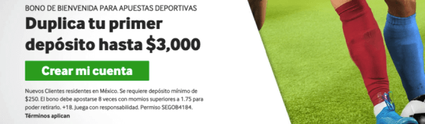 Betway - Bono de apuestas de $3000 MXN para México