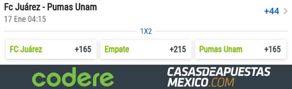 Momios de Apuestas - FC Juárez vs. Pumas UNAM - Liga MX 2020 Clausura