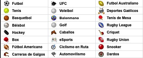 Caliente México - Apuestas deportivas - Deportes disponibles