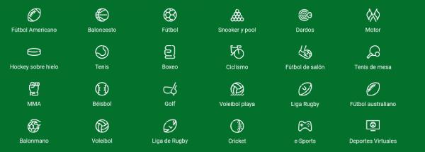 Ganabet México - Deportes disponibles