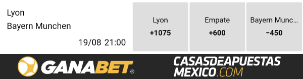 Momios de apuestas - Lyon vs. Bayern Munich Champions League 19/08/20