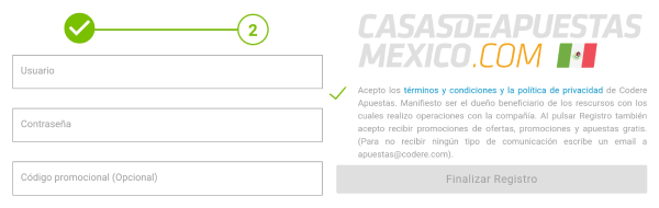 Registro Codere México - Paso 3