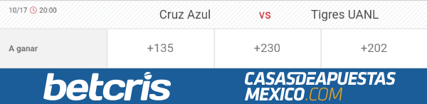 Lineas de apuestas - Cruz Azul vs. Tigres - Liga MX 17/10/20