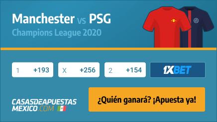 Apuestas Manchester United vs. Paris Saint-Germain PSG - Champions League 02/12/20